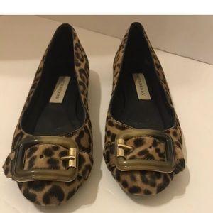 BURBERRY Buckle Animal Print Mohair Flat Shoe 6.5